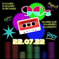 90's Party 90s Oldschool Retro Event 90er 80s Facebook Quadrat (1:1) template