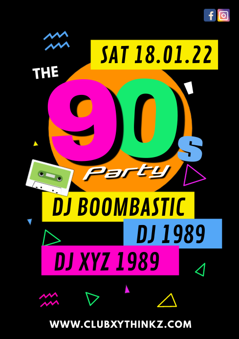 90's party events 90s music club bar flyer ad A4 template