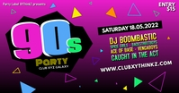 90's Party Oldschool Retro Event 90er Facebook Banner Ad Umkhangiso we-Facebook template