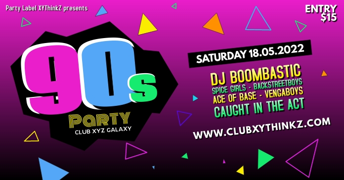 90's Party Oldschool Retro Event 90er Facebook Banner Ad
