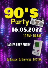 90's Party Retro Event Poster Oldschool Ad A4 template