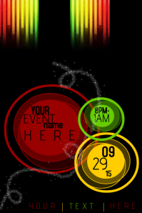 Red Green Yellow Ombre Sleek Club Rasta Event Business Flyer Poster Ad