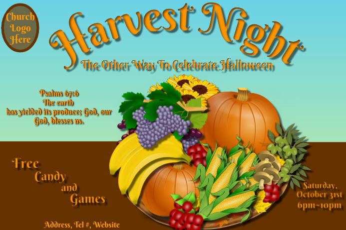 Harvest Night Poster template
