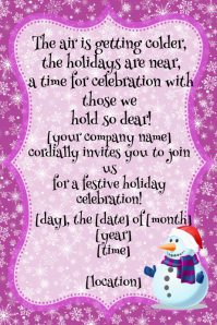 Snowflake Winter Christmas Holiday Celebration Party Invitation Flyer