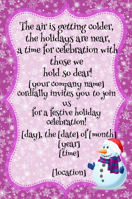 Snowflake Winter Christmas Holiday Celebration Party Invitation Flyer