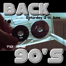 90s 80s 90's 80's party event music retro ad Square (1:1) template