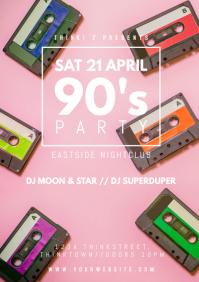 90s 90's Party Oldschool Retro Event 90er AD A4 template