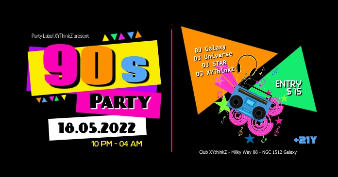 90s 90's Party Oldschool Retro Event 90er Banne Facebook template