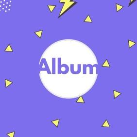 90s animation purple album cover video template