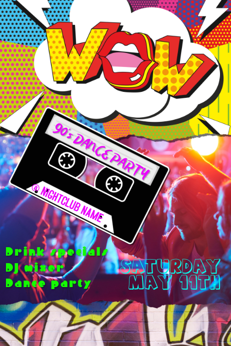 90s Dance Party Club Poster Template