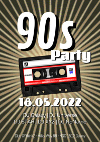 90s Party Event 90er cassette Flyer Poster A4 template