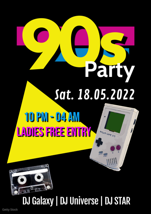 90s Party Event Music 90's Special Club A4 template