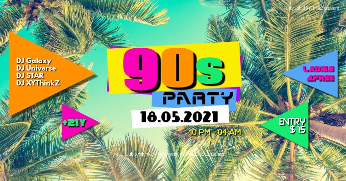 90s Party header cover 90's event invitation Facebook-annonce template