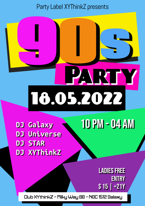 90s Party Oldschool Retro Event 90er A4 template