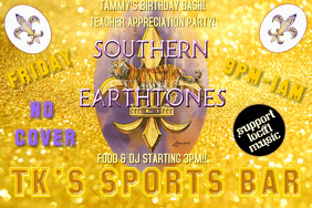 LSU Football Baseball College Team Tiger Purple Gold Bar Event Game Tailgate Flyer