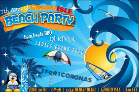 Beach Party Pool Waves Swimming Event Summer Outdoors Poster