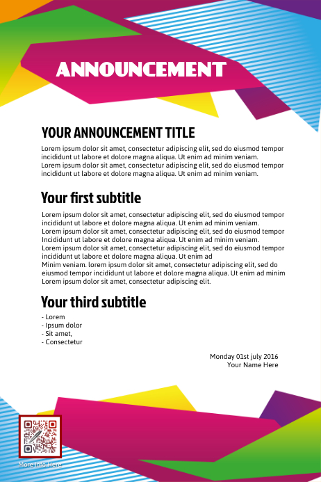 Announcement Flyer Template Postermywall