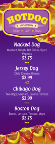 Hotdogs Menu Template