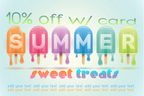 Ice Cream Sweet Treats Summer Discount Flyer Parlor Business Ad Poster template