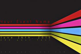 Modern Sleek Simple Rainbow Stripes Flat Black Retail Business Ad Corporate Event Flyer Poster template