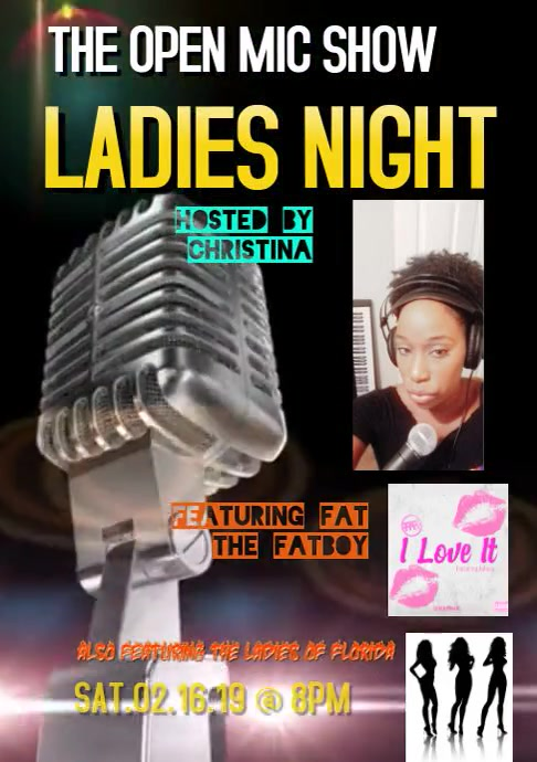 LADIES NIGHT ON THE OPEN MIC SHOW A4 template