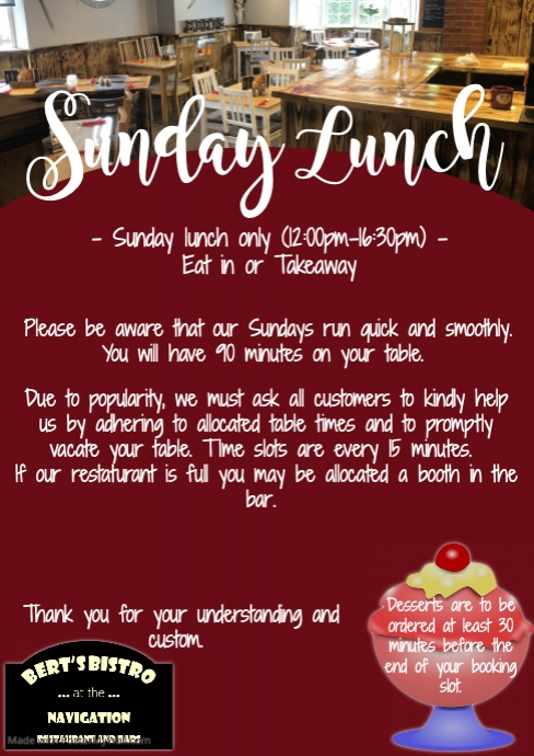 Sunday lunch disclaimer A4 template