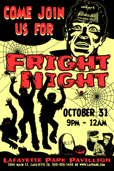 Vintage Fright Night Poster template