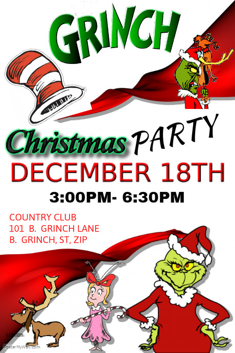 The Grinch Christmas Party.The Grinch Christmas Party Template Postermywall