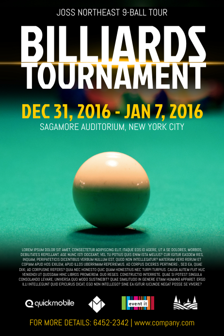 Billiards Tournament Poster Template