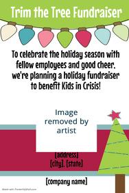 Christmas Tree Lights Fundraiser Invitation Poster Flyer