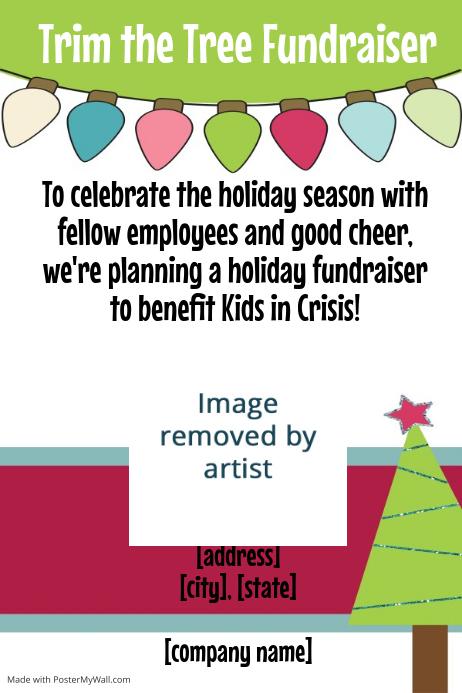 Christmas Fundraiser Flyer.Christmas Tree Lights Fundraiser Invitation Poster Flyer
