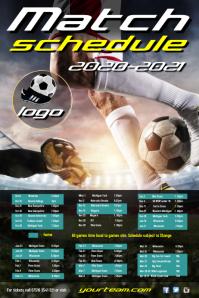 Football team schedule Poster template