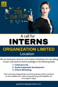 A call for interns Poster template