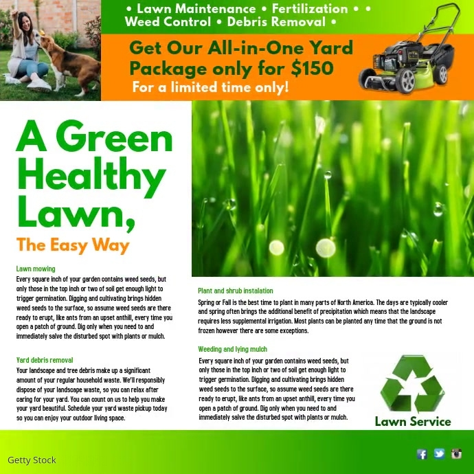 A Green Healthy Lawn Vierkant (1:1) template