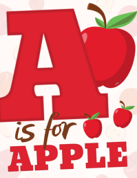A is for apple poster ใบปลิว (US Letter) template