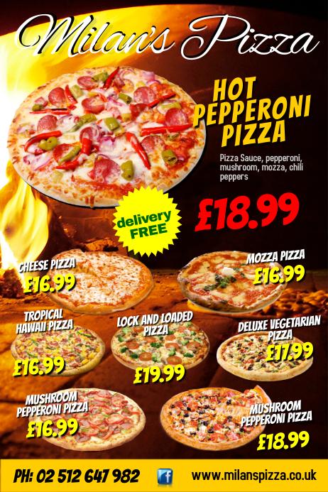 milans pizza flyer,