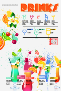 Awesome drinks and cocktails price list poster