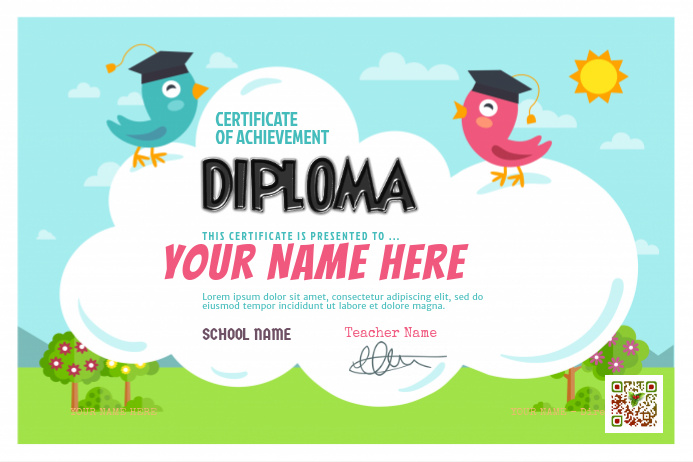 Ready made certificate for kids - PosterMyWall
