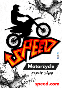 A3 Motorcycle Shop Poster