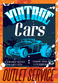 A3 Vintage Cars Poster