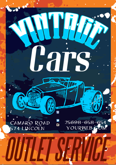 A3 Vintage Cars Poster template