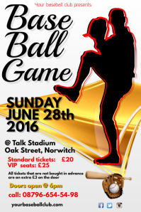 A4 Baseball Game Poster