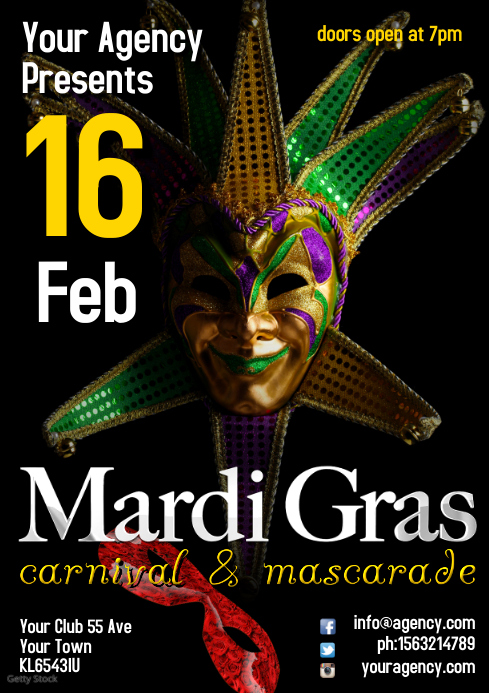 A4 Mardi Gras Leaflet