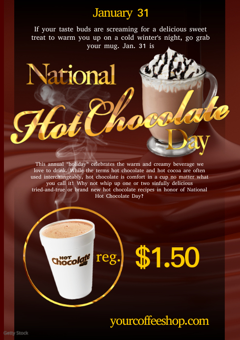 A4 National Hot Chocolate poster template