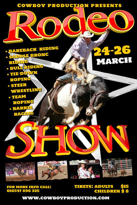 A4 Rodeo Poster Template Postermywall