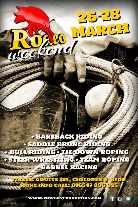 A4 Rodeo Weekend Poster Cartaz template