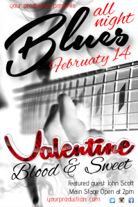 A4 Valentine's Blues Night Poster Cartaz template