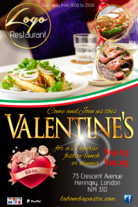 A4 Valentines Restaurant Poster