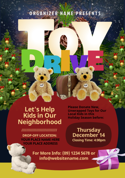 A5 Toy Drive Flyer template