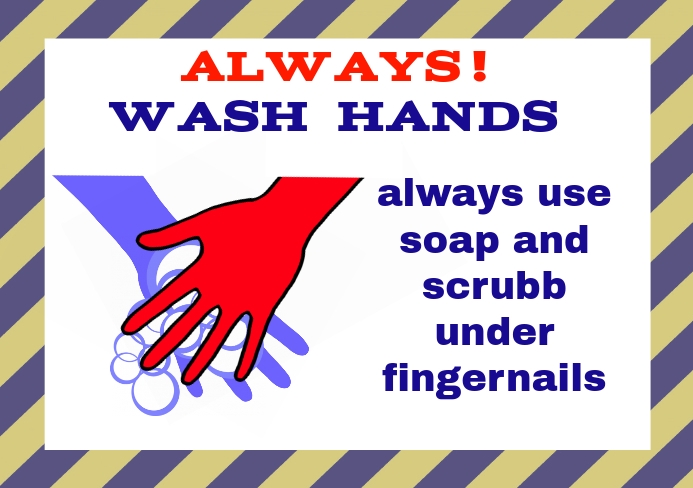 A5 with wash hands with soap sign